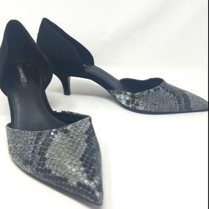 Zara Basic Velvet Black & Snake Grey Heels